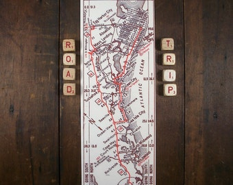 New Jersey Shore Atlantic City to Cape May Rustic Vintage Road Map Unique Gift Man Cave