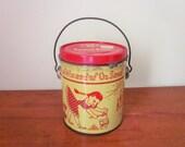 Vintage Oz Tin, Peanut Butter Tin, 2 lb, Retro, Mid Century, Swift Peanut Butter, Chicago, IL