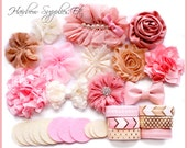 Light Pink, Mauve, Ivory, Beige Headband Kit - Makes 12 Headbands Baby Shower Headband Kit, DIY Headbands,  DIY Headband Making Kit, DIY Kit
