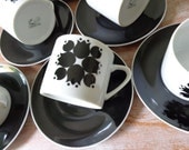 VIntage Schmid Kreglinger Kelco Set of 6 in Black and White - Cups and Saucers