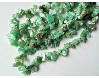 Chrysoprase Rough Chips - Chrysoprase Raw Beads - Natural Chrysoprase Beads - Green Chrysoprase 10mm To 16mm - 85 Pieces 14 Inch Full Strand