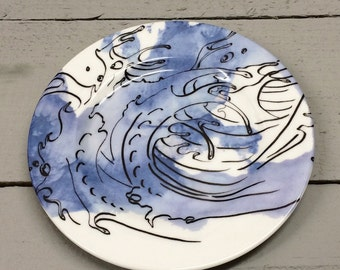 Wave inspired blue black and white tea plate