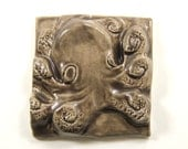 "Octopus Tile - 4"" Ocktopus Ceramic Wall Hanging Beach Home Decor Sea Life Gift"