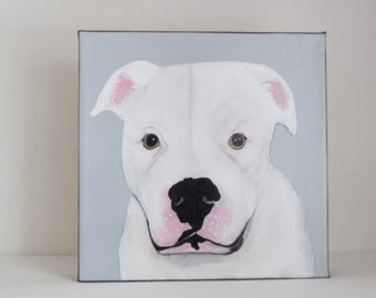 pet portrait, dog painting, dog lover gift idea- custom pet portrait- painting - 8x8 custom painting of your dog- redtilestudio- gift idea
