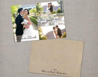 """Wedding thank you cards with photo - 5x7 - wedding thank you - the """"Paula"""""""