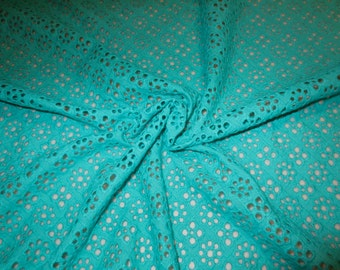 Turquoise Diamond Pattern Allover Pure Cotton Embroidered Eyelet Fabric--One Yard