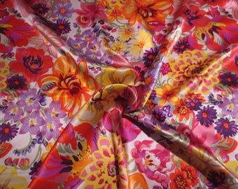 Stunning Orange and Pink Allover Floral Print Pure Silk Charmeuse Fabric--One Yard