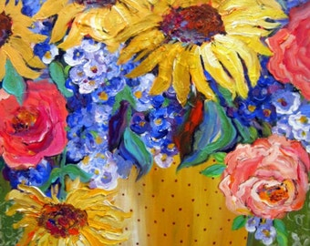 """Large Floral Original oil painting Still life painting canvas art 24"""" x 36"""" Art by Elaine Cory"""