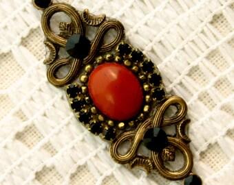 Genuine Red Jasper Bindi in Oxidized Brass