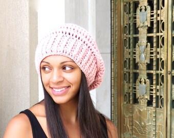 Crochet Slouchy Hat, Tam, Pink Crochet Hat, Ribbed, Beehive Hat, Women, Men, Teen, Tam,  Color is Pink