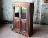 Reclaimed Vintage Facade Indian Cupboard Cabinet Bar Media Brown Blue Turquoise