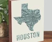 Houston Skyline - Houston Map - Houston Art - Houston Texas - Wood Block Art Print