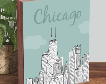 Chicago Skyline Art, Chicago Skyline Wall Art - Wood block Art Print