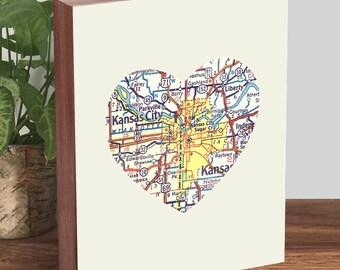 Kansas City Art - Kansas City Print - Kansas City Map - Wood Block Art Print
