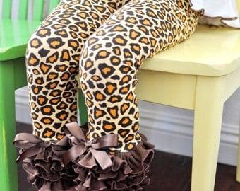 Tan & Brown Leopard Leggings with Brown Ruffles / Girls Leggings---5-12