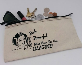 Princess Leia Inspired Cosmetic Case - Zipper Pouch, Clutch Purse