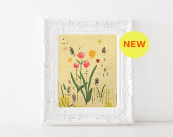 I Love You, Thank You No. 3 // Red Clover, Pink, Orange, Floral, Botanical, Illustration, Wild Flowers, Gifts for Gardners, Nature, Modern