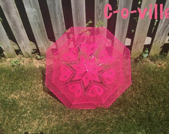 "42"" Hot Pink Fuchsia Heart Umbrella Parasol Sunbrella"