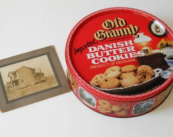 Advertising Tin. Old Granny Imported Danish Butter Cookies Product of Denmark. Storage Container. Rustic Country Farmhouse Kitchen Decor.
