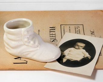 White Ceramic Baby Shoe Planter. Vintage Nursery Decor. Baby Shower Decoration. Kid's Room. Table Accent. Figurine. Rustic Farmhouse Chic.