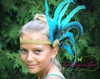 Turquoise Gold Peacock Feather Headpiece...Flapper Style Headpieces...Roaring Twenties Art Deco Hairpiece...Peacock Costume Accessories