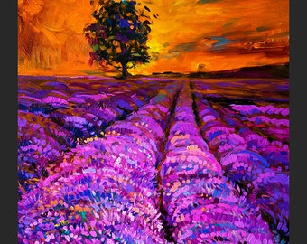 Original Lavender Oil Painting on Canvas-Beautiful day 20x16 Landscape Painting Original Modern Art Impressionistic Oil  by Ivailo Nikolov