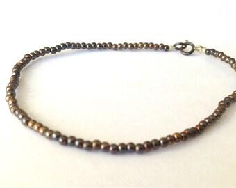 Oxidized beaded chain sterling silver bracelet