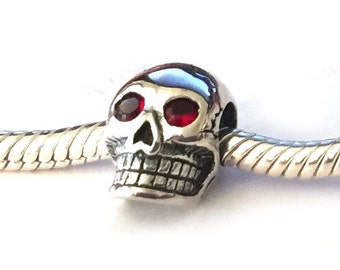 Sterling Silver Skull Charm Beads Red Eyes