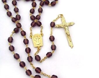Medjugorje Catholic Rosary Purple and Gold