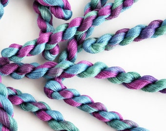 Floss Thread Hand Dyed- Fine Cotton Perle for Embroidery, Quilting and Lacemaking Variegated Yarn Misty Heather Green, Blue Lilac -  5358