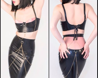 The NOIR Collection - Latex Bra Top and Pencil Skirt