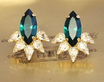 Emerald Stud Earrings,Emerald Crystal Earrings,Swarovski Bridal Earrings,Emerald Green Earrings,Bridesmaids Earrings,Emerald Earrings