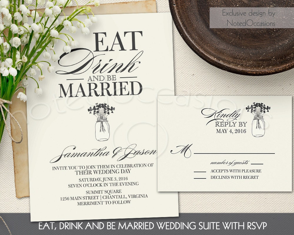 Wedding Invitations Eat Drink And Be Married: Eat Drink And Be Married Invitation Set Printable Wedding