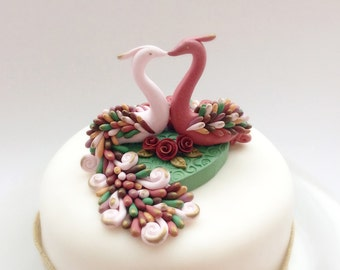 Rustic wedding cake topper in pale pink, dusky pink, brown and green handmade from polymer clay