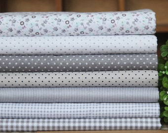 7 Pieces Gray Series Color Collection Cotton Cloth Quilt Fabric