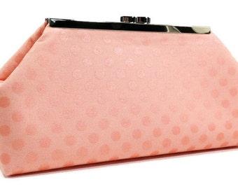 Clutch Purse Bag - Peach Coral Pearl Metallic Dots (LIMITED EDITION)