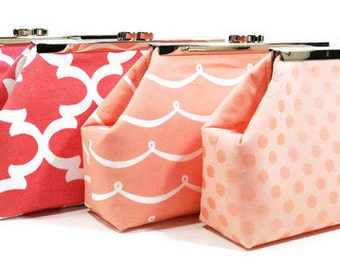 Coral Peach Bridesmaid Clutches, Wedding Clutches, Bridal Party Bags, Choose Your Fabric Set of 5