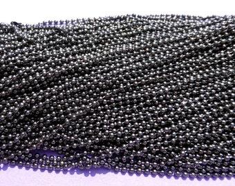 Gunmetal Ball Chain Necklaces - 24 inch - 2.4mm Diameter - Set of 10 - Gray Dark Silver Colored
