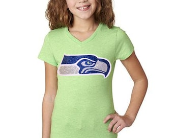 Seattle Seahawks Glitter Youth Girls Tee