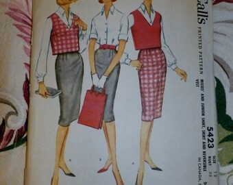 1960 McCalls Pattern 5423, Misses Shirt, Skirt and Reversible Vest Size 12, Bust 32""