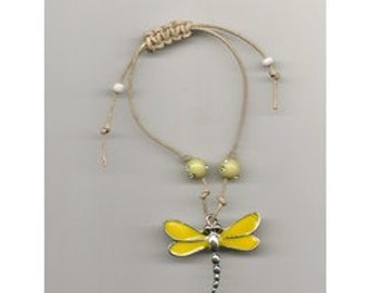 """Clearance Hemp Bracelet Yellow and Silver Dragonfly Charm, 2 Yellow """"Bling"""" Beads, 2 White Glass Seed Beads, Handmade"""