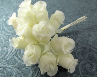 12 Ivory Small Rose Buds Millenery Silk Fabric Bridal Flowers
