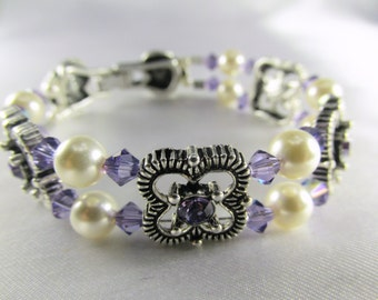Swarovski Purple Tanzanite Small Bridal Bracelet in Antique Sterling Silver with Heart Clasp and Ivory Pearls - Radiant Orchid Collection