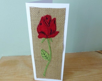 Red Rose valentines card, rose birthday card, textile anniversary card