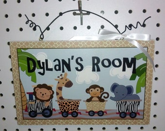 Personalized Safari Express/Jungle Animals/Train Canvas on Wood Sign/Plaque Kids Baby