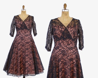 50s NAVY Blue LACE Party DRESS / 1950s Sheer Nude Illusion Full Skirt Dress M