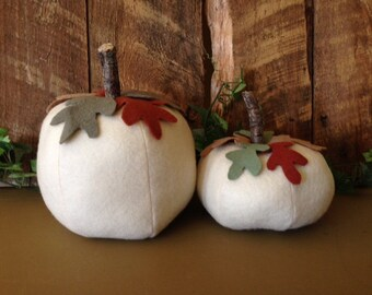 White Pumpkin Felt Oak Leaves Twig Stem JKB