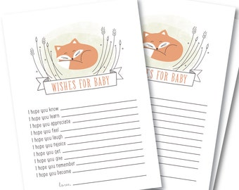 Wishes For Baby Card, Baby Shower Activity // BABY FOX
