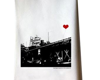 Portland Oregon Stag Sign tea towel