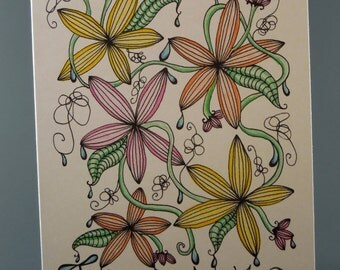 Adult Coloring - Color Your Own - Thank You Card - Drippy - Monkey Brains - monkeybrains - monkeybrainsdesign